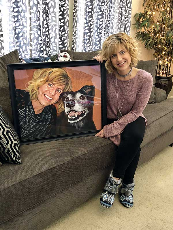 Custom Pet Portrait Paintings: Painting of woman and her dog
